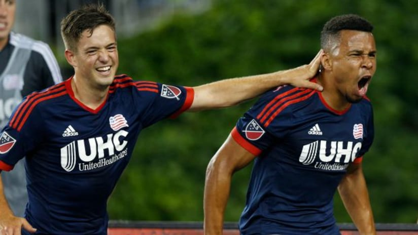 New England Revoluton duo Kelyn Rowe and Charlie Davies celebrate the latter's goal