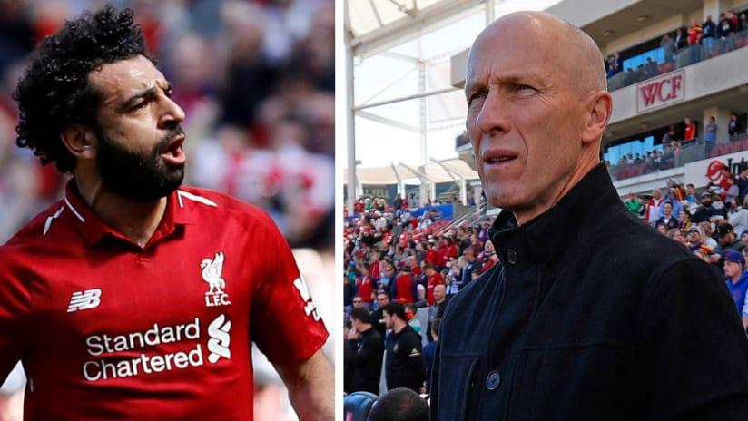 Split image: Mohamed Salah - Liverpool - Bob Bradley - LAFC - Egypt national team