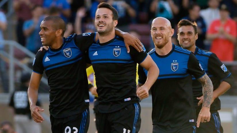San Jose Earthquakes - celebrate a goal - Cali Clasico