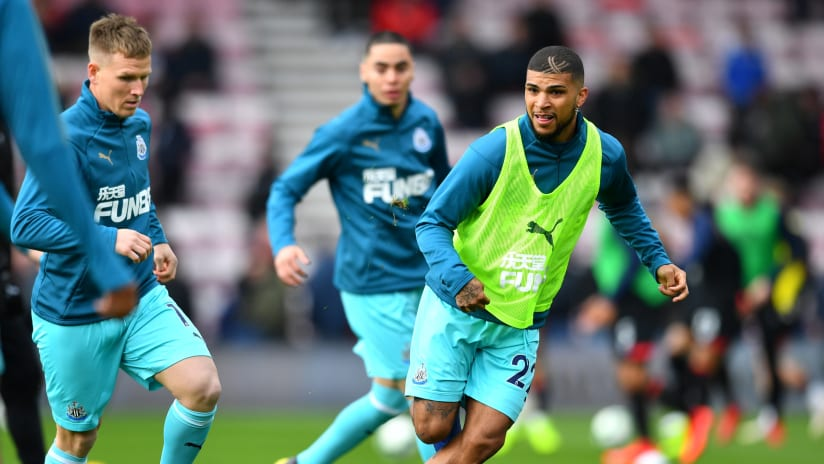 DeAndre Yedlin, Miguel Almiron - Newcastle United - during warmups