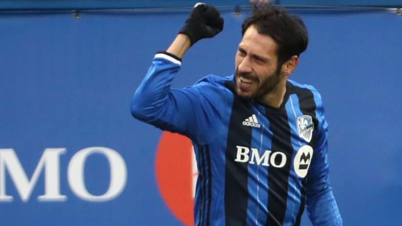 Matteo Mancosu - Montreal Impact - celebrates goal vs. RBNY