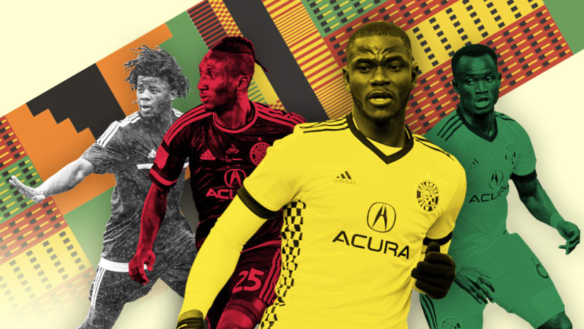 Columbus Crew SC's Ghanaian players: Abubakar, Mensah, Afful, Abu