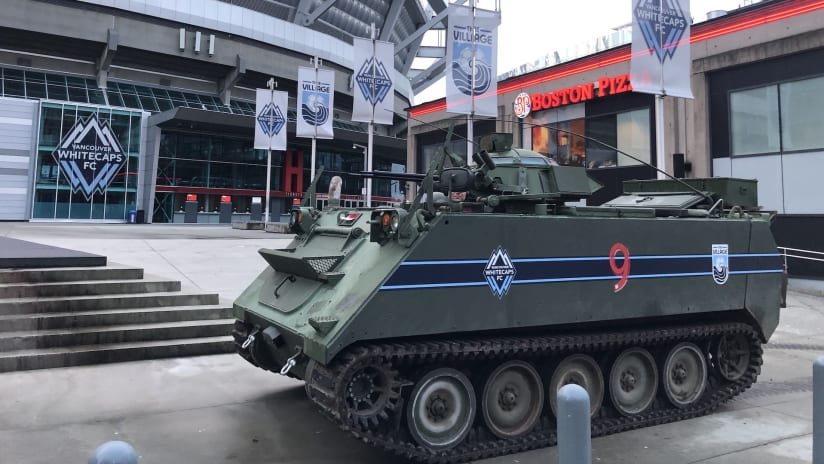 Tank parked outside BC Place - Vancouver Whitecaps - Lucas Cavallini signing