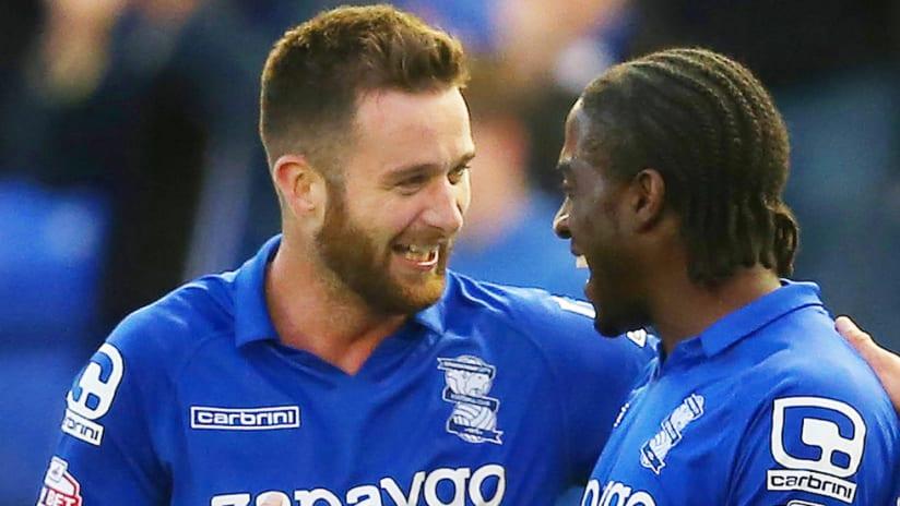 David Edgar - Birmingham City - celebrates goal with a teammate