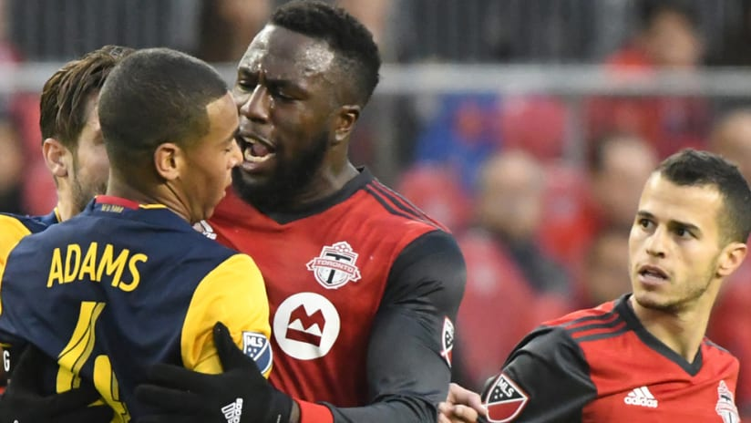 Tyler Adams - New York Red Bulls - Jozy Altidore - Toronto FC - get in each other's faces