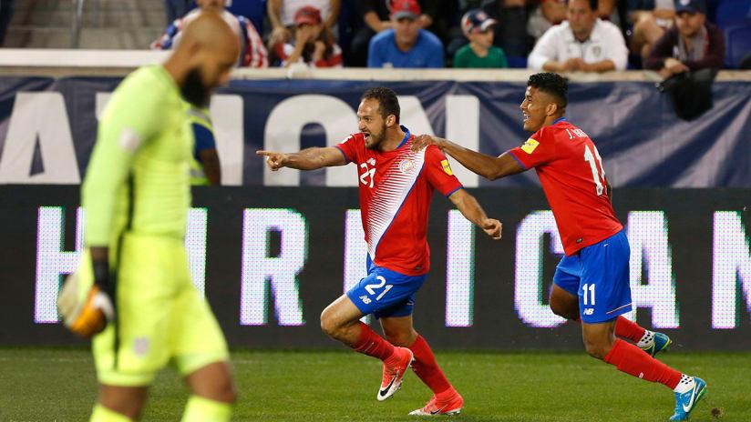 Marco Urena - Costa Rica - celebrates goal vs. US national team