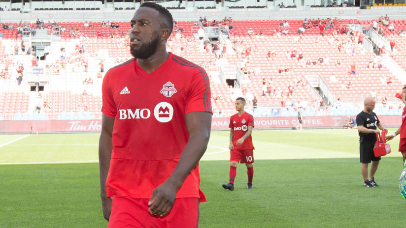 Jozy Altidore - Toronto FC - walks up the field after a warmup
