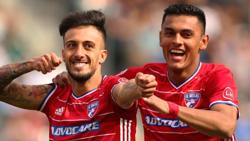 Maximiliano Urruti, Cristian Colman - FC Dallas - all smiles after taking lead vs. LA Galaxy