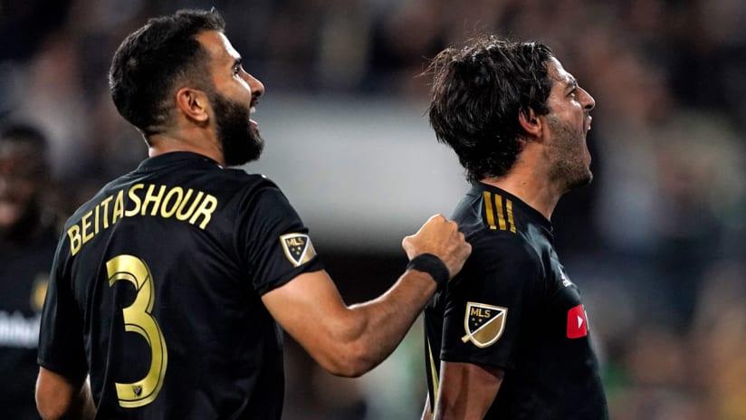 Steven Beitashour - Carlos Vela - LAFC - celebrate vs. LA Galaxy