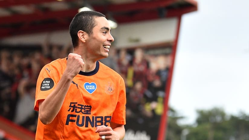 Miguel Almiron - Newcastle United - celebrates a goal - July 1, 2020
