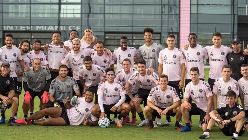"Inter Miami squad wearing ""For Sebastian"" practice jerseys"