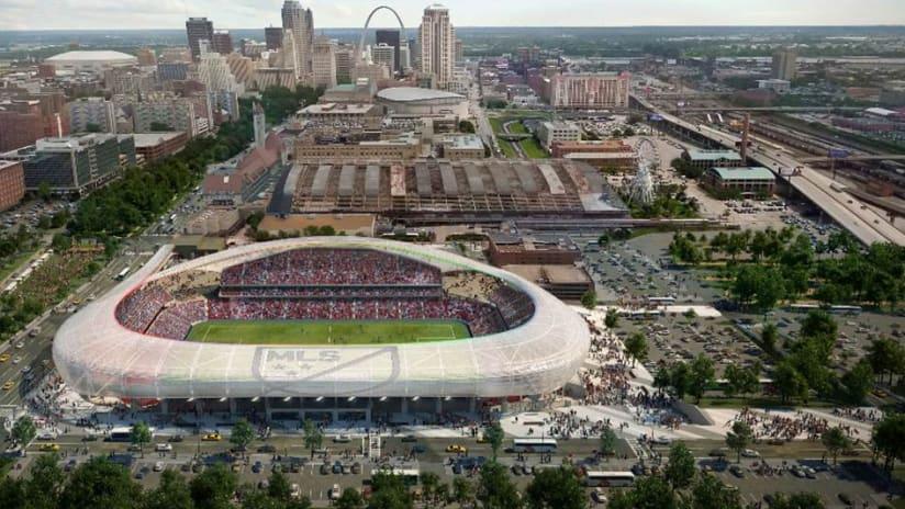 St. Louis downtown stadium rendering - aerial view - November 17, 2016