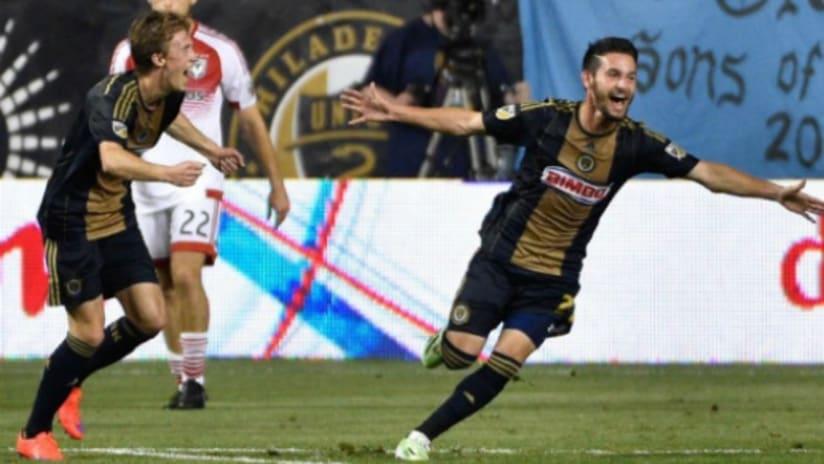 Zach Pfeffer celebrates hitting game-winning goal for Philadelphia Union vs. D.C. United