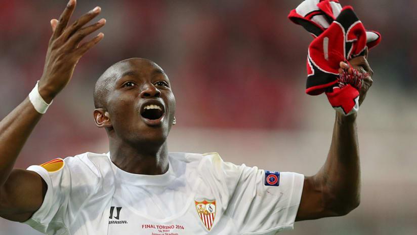 Stephane Mbia -- Celebrating -- With Sevilla