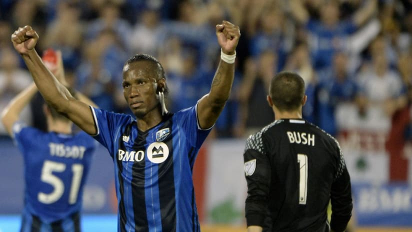 Didier Drogba - Montreal Impact - Celebrates with arms in a V