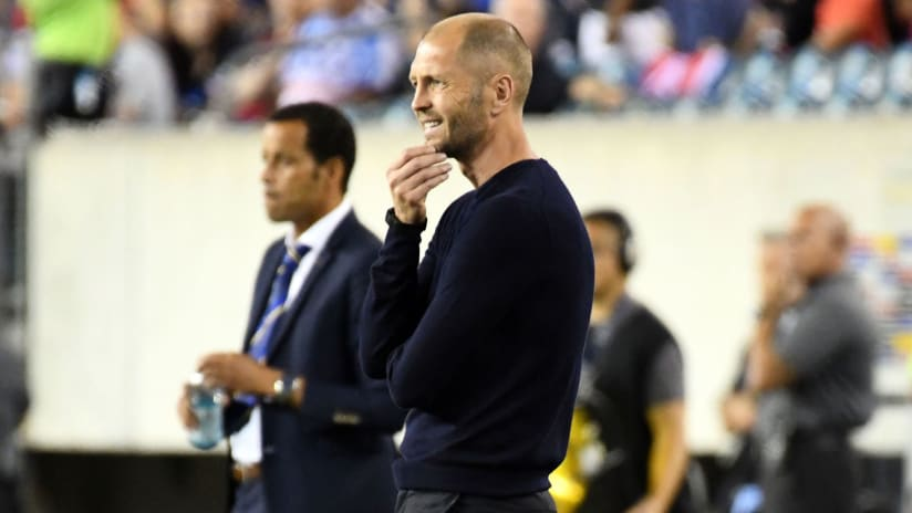Gregg Berhalter - US national team - on the sideline vs. Curacao - Gold Cup