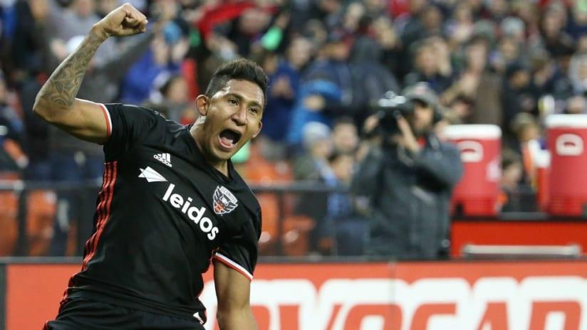 D.C. United forward Jose Guillermo Ortiz celebrating a goal vs. Union - 4/1/17