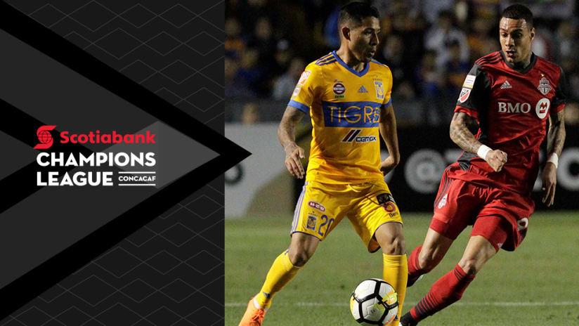 Javier Aquino, Gregory Van Der Wiel - Tigres vs. Toronto FC - CCL overlay