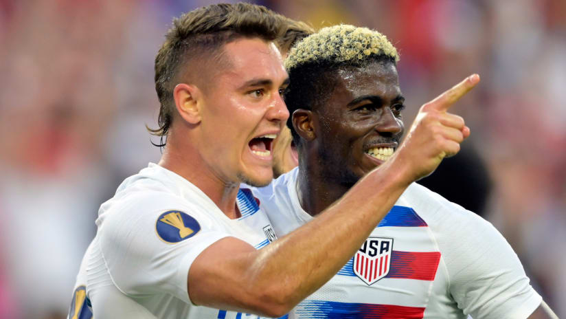 Aaron Long - Gyasi Zardes - US national team - Gold Cup - celebrate a goal