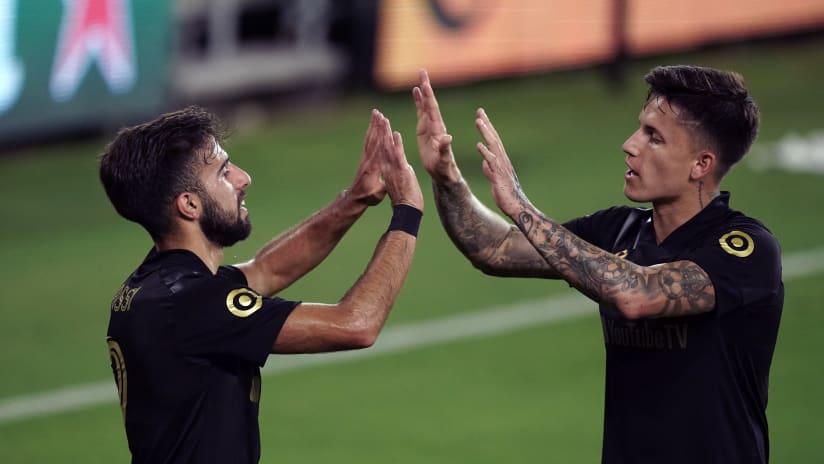 Diego Rossi & Brian Rodriguez celebrate - LAFC