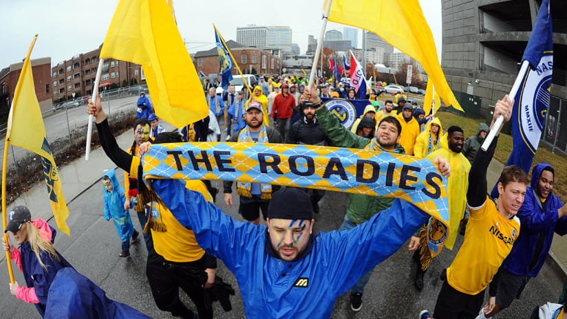 Nashville SC supporters - march to the match before first-ever game
