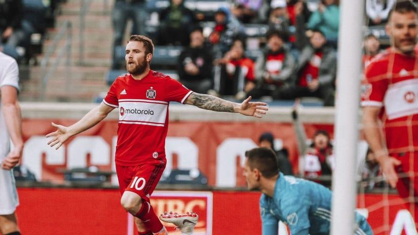 Aleksandar Katai celebrates - Chicago Fire