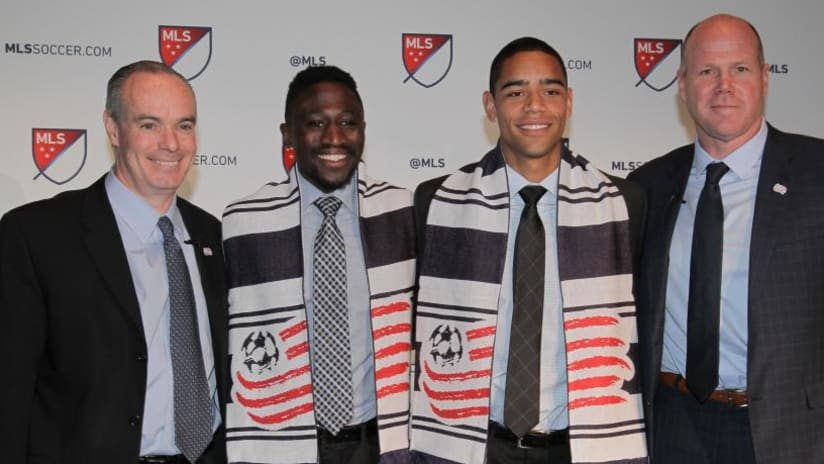 Brandon Bye and Mark Segbers pose with New England Revolution brass at 2018 SuperDraft