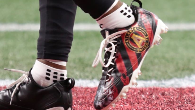 Custom Atlanta United cleats - worn by Falcons WR Mohamed Sanu - THUMB ONLY