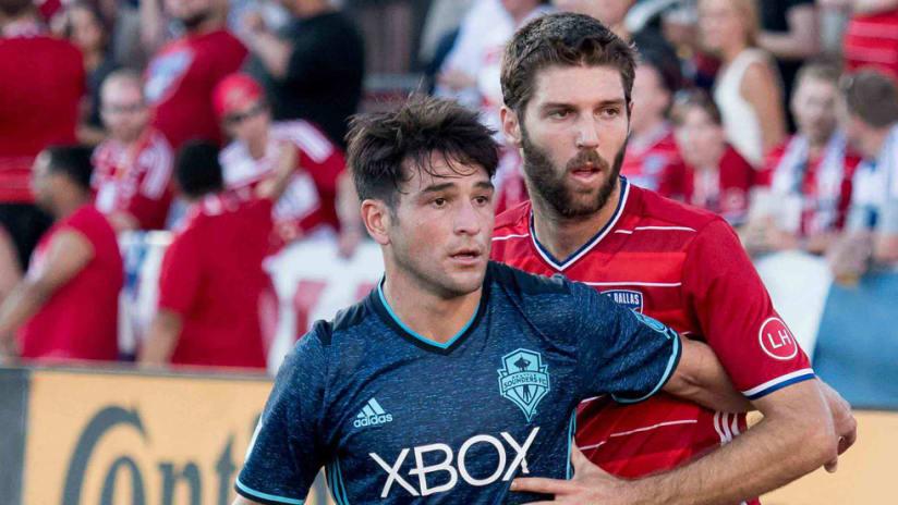 Ryan Hollingshead, Nicolas Lodeiro - FC Dallas, Seattle Sounders - Close up