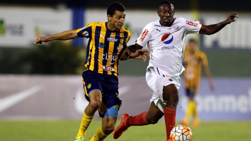 Juan Fernando Caicedo (right) - in action for Independiente Medellin