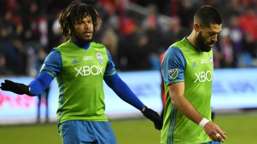 Roman Torres - Clint Dempsey - react during 2nd half of 2017 MLS Cup - Seattle Sounders