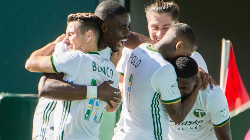 Portland Timbers - celebrate the goal vs. San Jose Earthquakes - Decision Day 2019
