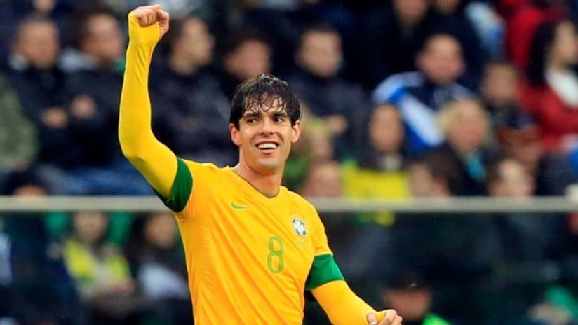 Kaká raises fist for Brazil