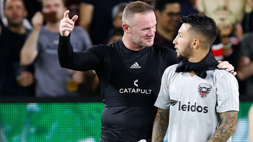 Wayne Rooney - Luciano Acosta - D.C. United - celebrate a win