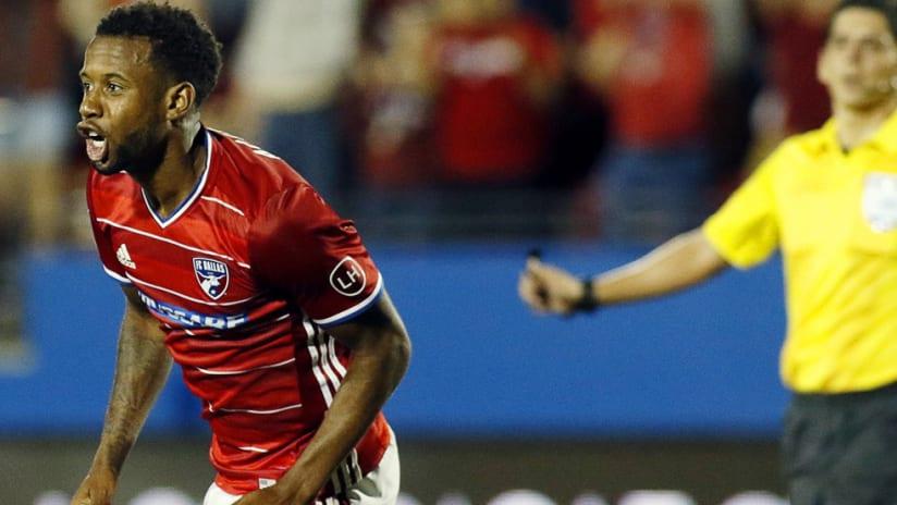 Kellyn Acosta - FC Dallas - celebrates his goal vs. Arabe Unido in CCL play