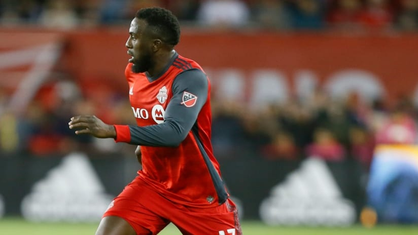 Jozy Altidore - Toronto FC - races forward on the dribble
