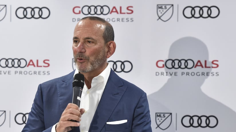 Don Garber speaks at a press conference
