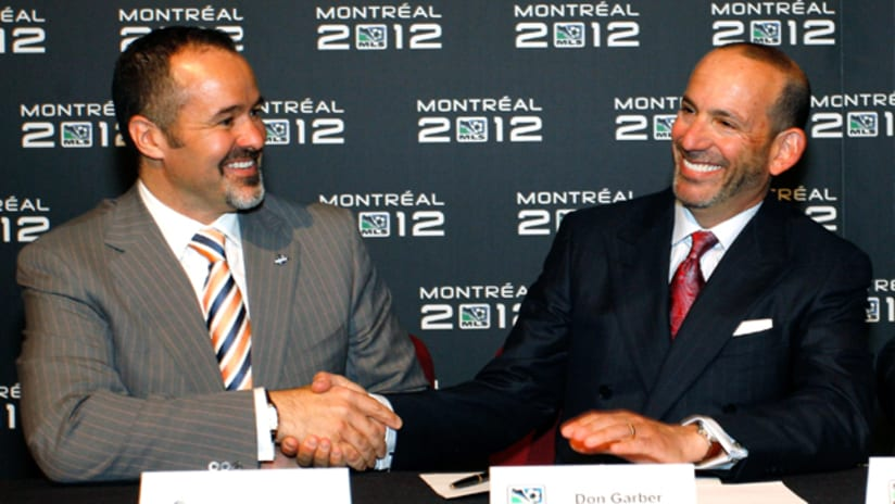Impact owner Joey Saputo (left) and MLS Commissioner Don Garber (right).
