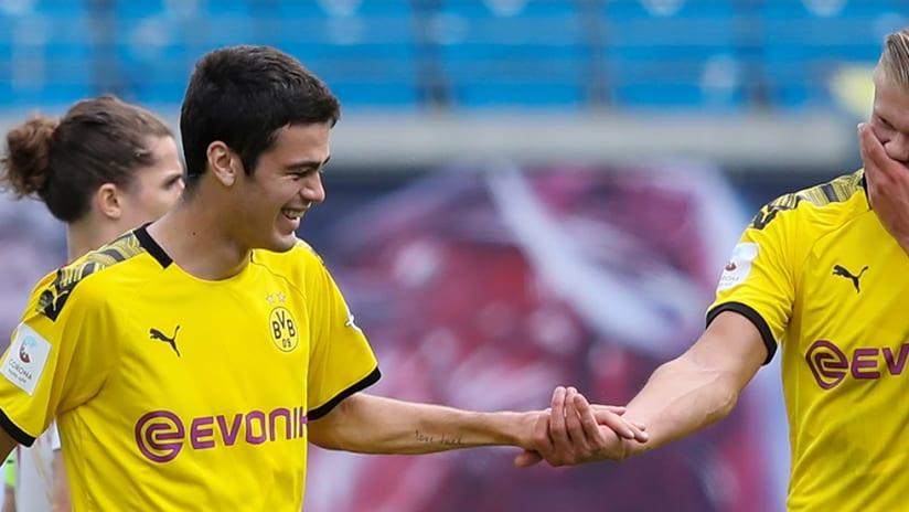Gio Reyna - Erling Haaland - celebrate Dortmund goal