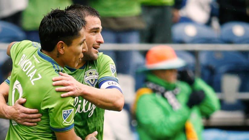 Nicolas Lodeiro, Raul Ruidiaz - Seattle Sounders - Celebrate
