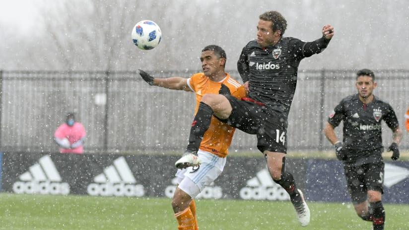 Nick DeLeon, Mauro Manotas - DC United vs. Houston - snowy SoccerPlex