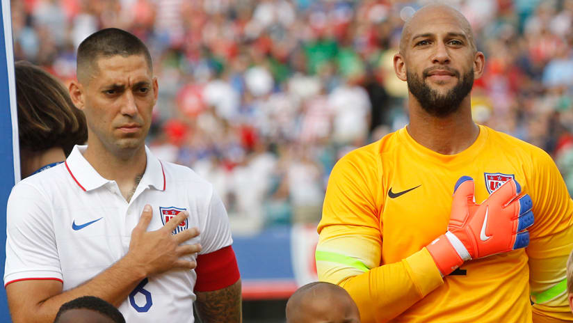 Clint Dempsey, Tim Howard - US national team - during national anthem