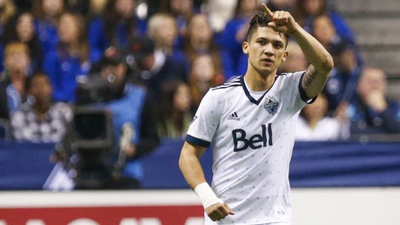Fredy Montero - Vancouver Whitecaps - reacts to a goal vs. Seattle