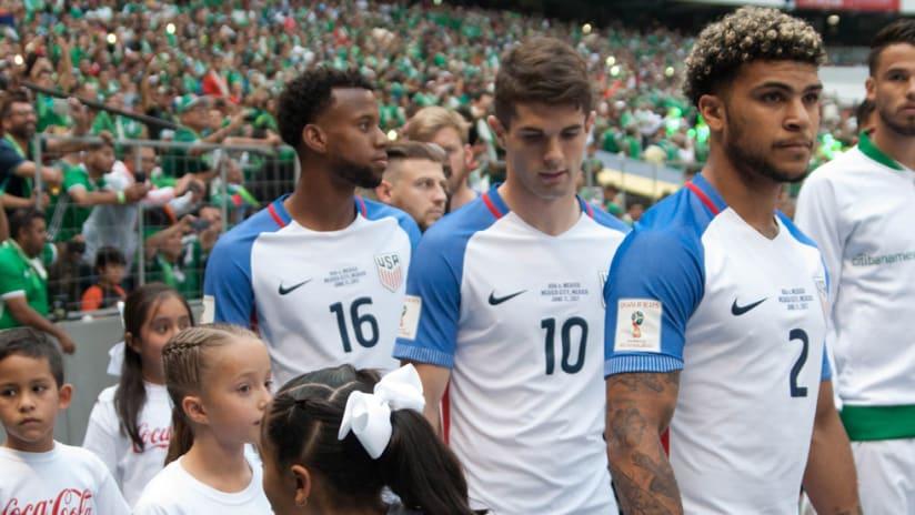 Kellyn Acosta - Christian Pulisic - DeAndre Yedlin - US national team - walkout at Azteca