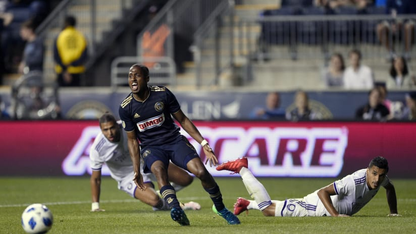Fafa Picault - Philadelphia Union - reacts to call vs. Orlando City