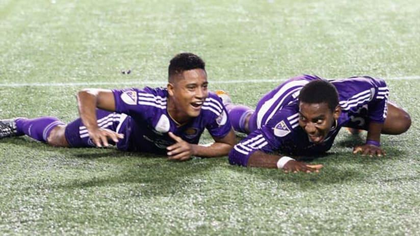 Cristian Higuita and Bryan Rochez do 'The Crocodile' after a goal for Orlando City SC
