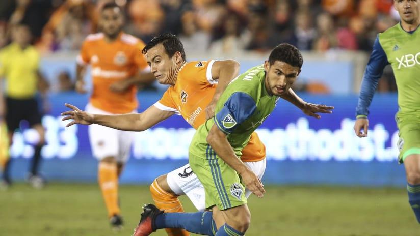 Cristian Roldan, Erick Torres -- Dueling -- Opening Weekend '17