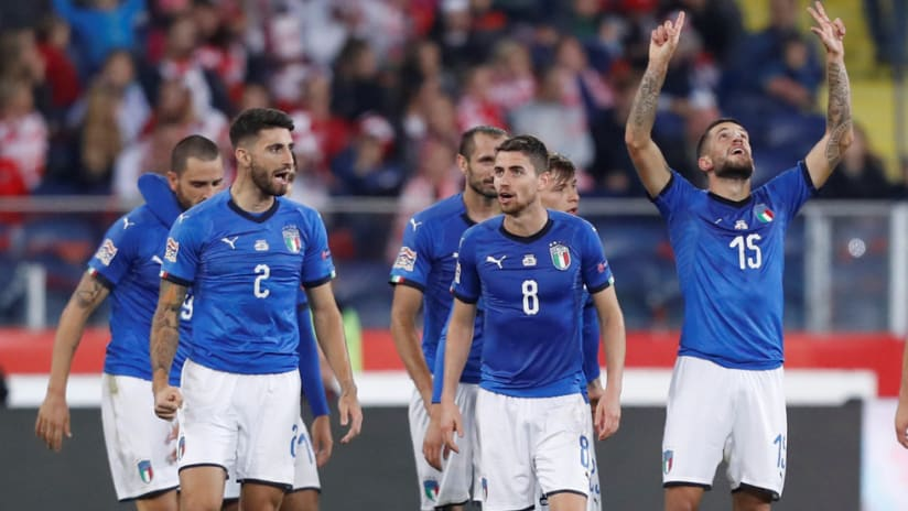 Italy national team - celebrates a goal vs. Poland in the UEFA Nations League
