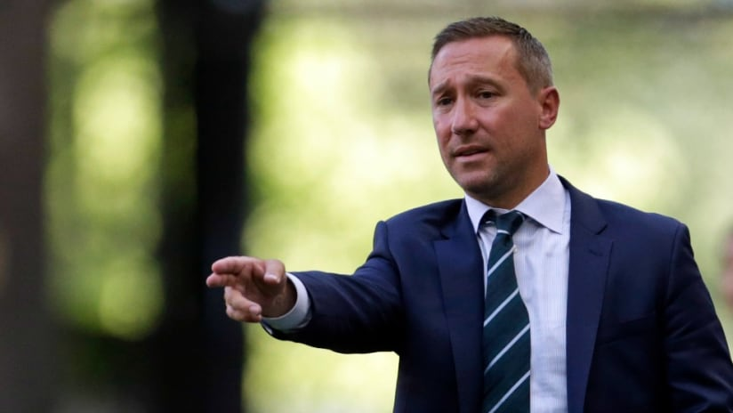 Caleb Porter - Portland Timbers - signals towards the field