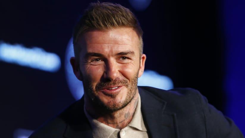 David Beckham - MLS media day - smiling